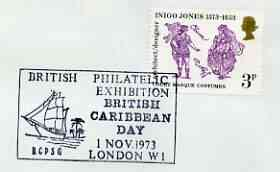 Postmark - Great Britain 1973 cover bearing illustrated cancellation for British Philatelic Exhibition (Br Caribbean Day)