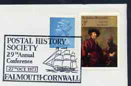 Postmark - Great Britain 1973 cover bearing illustrated cancellation for Postal History Soc (29th Conference, Falmouth)