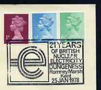 Postmark - Great Britain 1978 cover bearing illustrated cancellation for 21 Years of nuclear Electricity