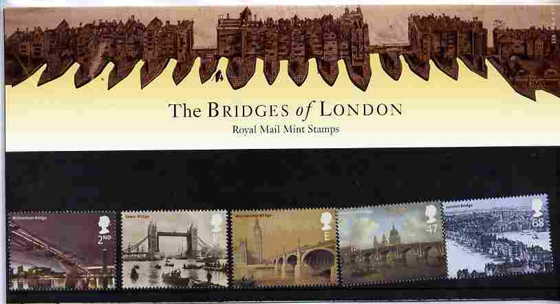 Great Britain 2002 London's Bridges perf set of 5 in official presentation pack SG 2309-13