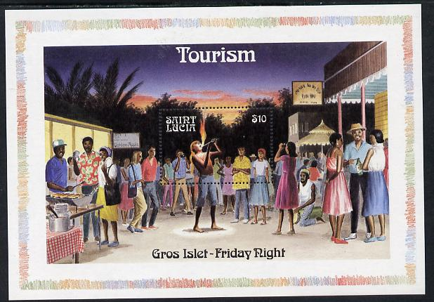 St Lucia 1986 Tourism (Fire-Eating) m/sheet (SG MS 918) unmounted mint