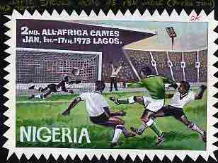Nigeria 1973 Second All Africa Games - original hand-painted artwork (Football) on card 9 x 6 undenominated but marked 12k in red m/s, reverse shows
