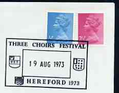 Postmark - Great Britain 1973 cover bearing illustrated cancellation for Three Choirs Festival, Hereford