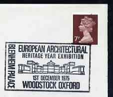 Postmark - Great Britain 1975 cover bearing illustrated cancellation for European Architectural Heritage Year (Woodstock)