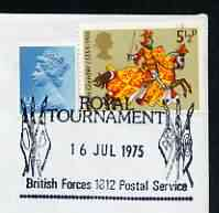 Postmark - Great Britain 1975 cover bearing illustrated cancellation for Royal Tournament (BFPS)