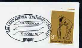 Postmark - Great Britain 1973 cover bearing special cancellation for Holland America Centennial - SS Volendam, Torquay