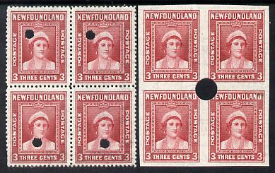 Newfoundland 1941-44 KG6 Queen Mother 3c in perf & imperf matched proof blocks of 4 from archives with checker's mark highlighting a variety for retouching, each stamp with Waterlow security punch hole, some wrinkling but probably UNIQUE (as SG 278)