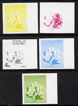 Nauru 1973 Plant (Denea) 4c definitive (SG 102) set of 5 unmounted mint IMPERF progressive proofs on gummed paper (blue, magenta, yelow, black and blue & yellow)