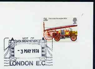 Postmark - Great Britain 1974 cover bearing illustrated cancellation for Visit of Golden Hinde to London (Showing Tower Bridge)