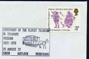 Postmark - Great Britain 1973 cover bearing illustrated cancellation for Centenary of Oldest Tramcar in Crich Tramway Museum