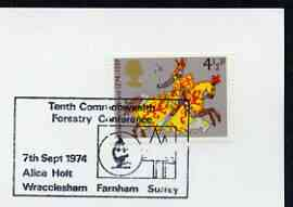 Postmark - Great Britain 1974 card bearing illustrated cancellation for 10th Commonwealth Forestry Conference