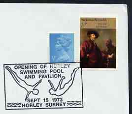 Postmark - Great Britain 1973 cover bearing illustrated cancellation for Opening of Horley Swimming Pool
