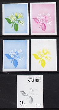 Nauru 1973 Plant (Rimone) 3c definitive (SG 101) set of 5 unmounted mint IMPERF progressive proofs on gummed paper (blue, magenta, yelow, black and blue & yellow)