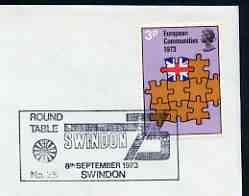 Postmark - Great Britain 1973 cover bearing illustrated cancellation for Swindon '73 Round Table