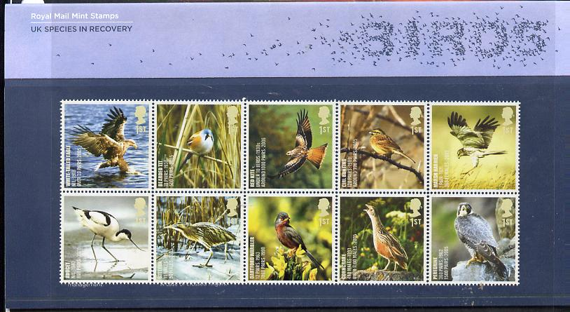 Great Britain 2007 Endangered Species - Birds se-tenant perf block of 10 in official presentation pack unmounted mint SG 2764a