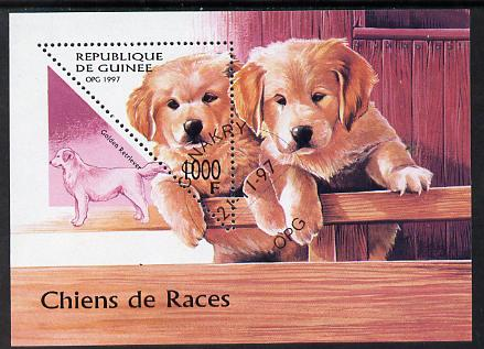 Guinea - Conakry 1997 Dogs miniature sheet containing triangular 1000f value cto used