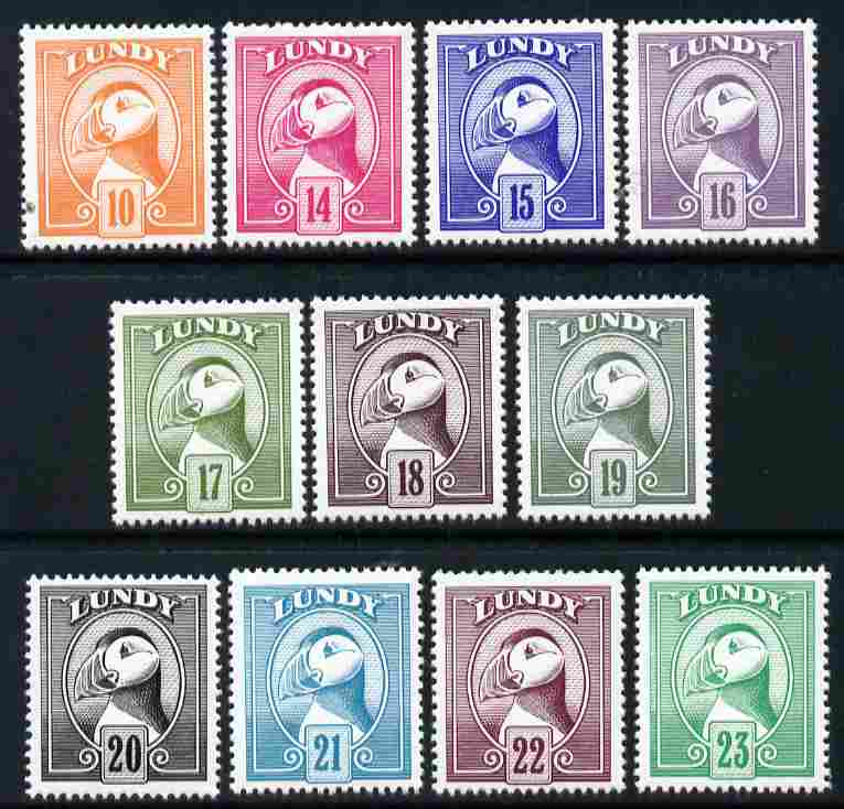 Lundy 1982 Puffin def complete, 11 values 10p to 23p unmounted mint