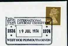 Postmark - Great Britain 1974 card bearing illustrated cancellation for International Lifeboat Exhibition (Plymouth)