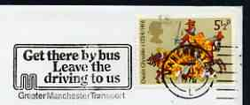 Postmark - Great Britain 1975 cover bearing illustrated slogan cancellation for 'Get there by Bus, Leave the driving to us' Manchester