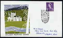 Postmark - Great Britain 1968 cover bearing illustrated cancellation for Ballater Highland Games