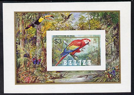 Belize 1984 Scarlet Macaw imperf $3 m/sheet unmounted mint SG MS 810