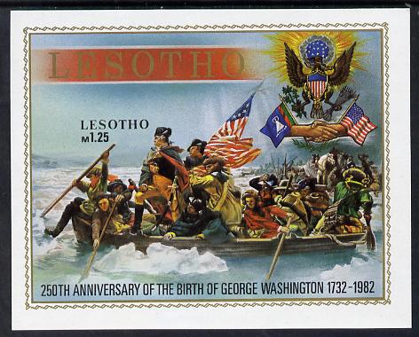Lesotho 1982 Flags George Washington unmounted mint imperf m/sheet (SG MS 499)