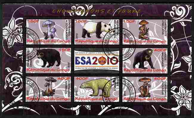 Congo 2010 Mushrooms & Fauna #01 perf sheetlet containing 8 values plus Scouts label fine cto used