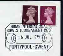 Postmark - Great Britain 1979 cover bearing illustrated cancellation for Home International Bowls Tournament, Pontypool