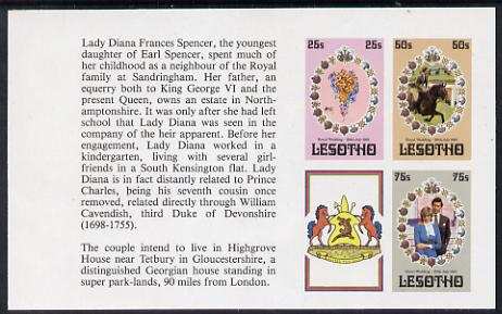 Booklet - Lesotho 1981 Royal Wedding set of 3 (plus label) in unmounted mint imperf booklet pane (SG 451b)