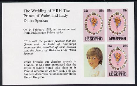 Booklet - Lesotho 1981 Royal Wedding 25s x 3 (plus label) in unmounted mint imperf booklet pane (SG 451a)