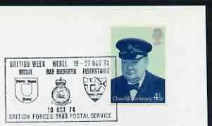 Postmark - Great Britain 1974 card bearing illustrated cancellation for British Week, RAF Bruggen (BFPS)