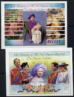 Belize 1985 Life & Times of HM Queen Mother $2 & $5 unmounted mint imperf m/sheets (SG MS 831)