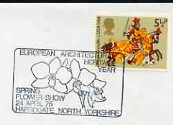 Postmark - Great Britain 1975 cover bearing illustrated cancellation for European Architectural Heritage Year (Harrogate) showing flowers