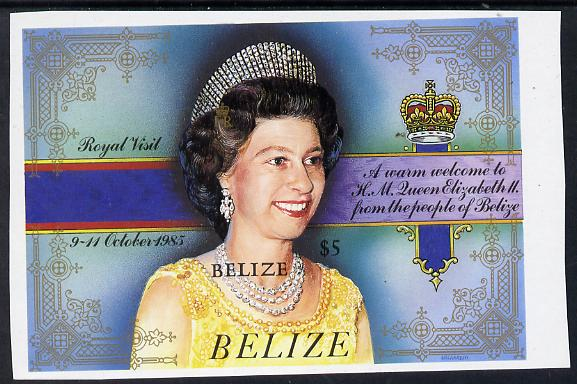 Belize 1985 Royal Visit $5 unmounted mint imperf m/sheet (SG MS 865)