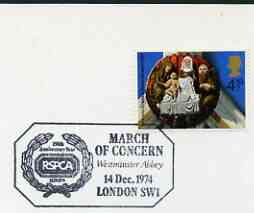 Postmark - Great Britain 1974 card bearing special cancellation for RSPCA, March of Concern