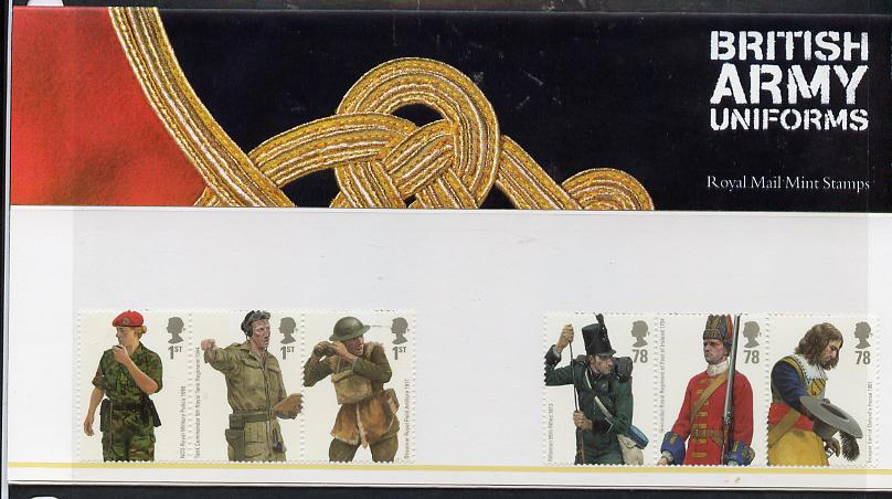 Great Britain 2007 British Army Uniforms perf set of 6 values (2 se-tenant strips of 3) in official presentation pack unmounted mint SG 2774-79