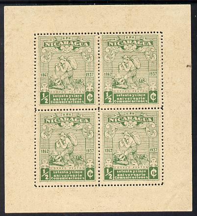 Nicaragua 1937 75th Anniversary of Postal Administration 1/2c green Letter Carrier perf sheetlet containing 4 values without gum (as issued) mounted in margins, as SG904
