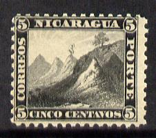 Nicaragua 1869 Volcanoes 5c black P12 unmounted mint SG 10 (see note after SG19)