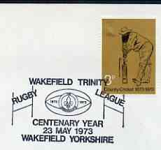 Postmark - Great Britain 1973 cover bearing illustrated cancellation for Wakefield Trinity RuGreat Britainy League Centenary Year