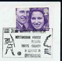Postmark - Great Britain 1974 cover bearing illustrated cancellation for Nottingham Forest v Notts County