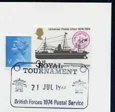 Postmark - Great Britain 1974 cover bearing illustrated cancellation for Royal Tournament (BFPS)