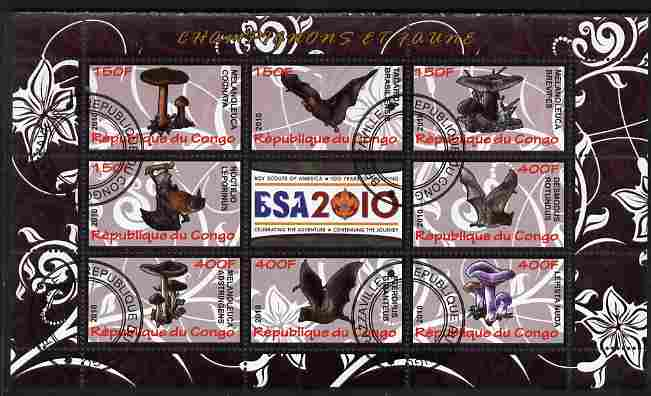 Congo 2010 Mushrooms & Fauna #02 perf sheetlet containing 8 values plus Scouts label fine cto used