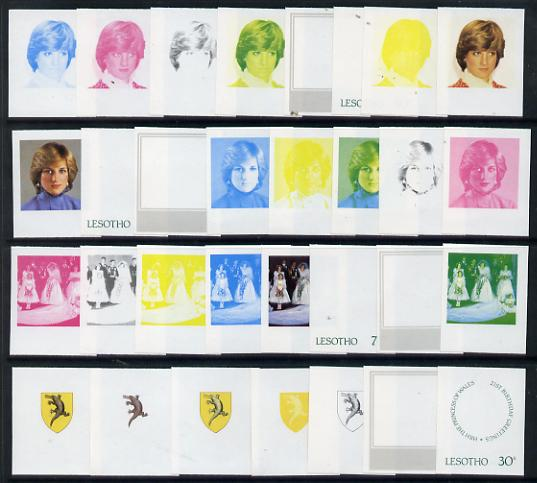 Lesotho 1982 Princess Di's 21st Birthday set of 4, each in imperf progressive proofs comprising the 5 (or 6) individual colours plus 2 different combination composites, scarce (31 proofs)