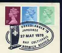 Postmark - Great Britain 1978 cover bearing illustrated cancellation for Broadlander '78 Jamboree at RAF Coltishall