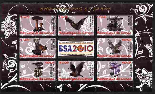 Congo 2010 Mushrooms & Fauna #02 perf sheetlet containing 8 values plus Scouts label unmounted mint