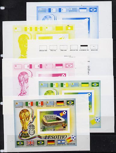 Lesotho 1982 Flags of Winning Nations - World Cup Football m/sheet the set of 6 imperf progressive proofs comprising the 4 main individual colours plus 2 different combination composites, extremely rare thus