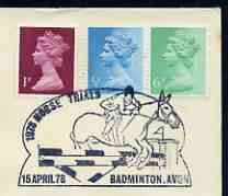 Postmark - Great Britain 1978 cover bearing illustrated cancellation for The Horse Trials, Badmington