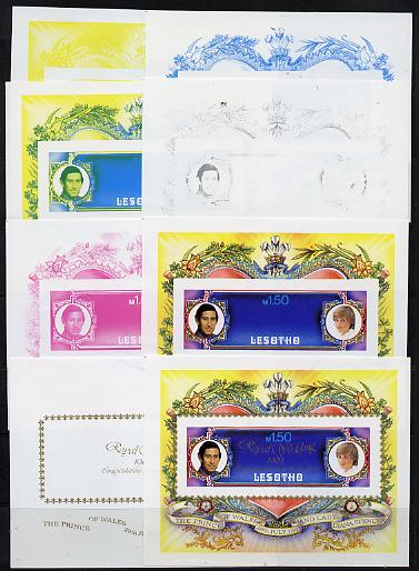 Lesotho 1981 Royal Wedding m/sheet (SG MS 454) the set of 8 imperf progressive proofs comprising the 5 individual colours plus 3 different combination composites incl completed design, extremely rare
