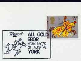 Postmark - Great Britain 1974 card bearing illustrated slogan cancellation for Terrys All Gold Ebor, York Races