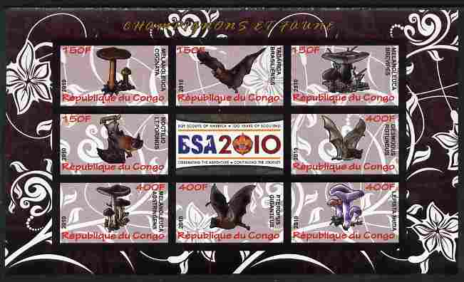 Congo 2010 Mushrooms & Fauna #02 imperf sheetlet containing 8 values plus Scouts label unmounted mint